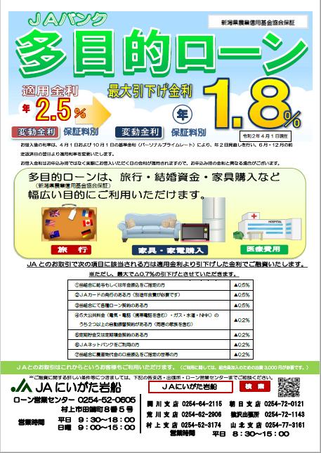 多目的ローン(新潟県農業信用基金協会保証)